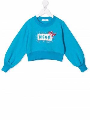 Cupid-motif logo sweatshirt MSGM Kids. Цвет: синий