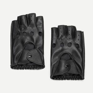 Ажурные перчатки без пальцев для мужчины SHEIN. Цвет: чёрный