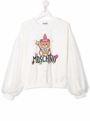 Толстовка с логотипом Teddy Bear Moschino Kids. Цвет: белый