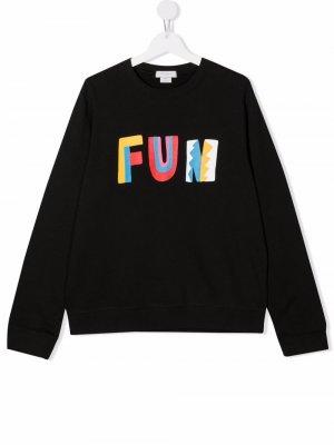 Fun sustainable cotton sweatshirt Stella McCartney Kids. Цвет: черный