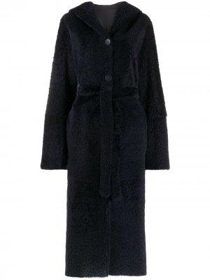 Двустороннее пальто миди с поясом Liska. Цвет: синий