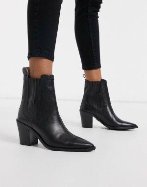 Кожаные полусапожки на каблуке с заостренным носком -Черный Bronx