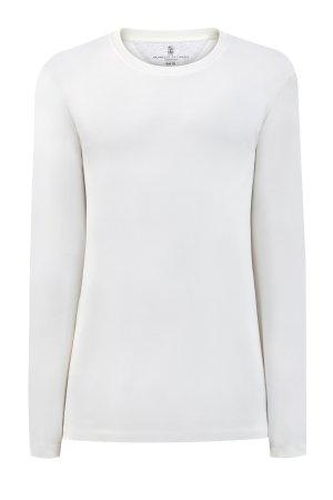 Белый лонгслив в стиле минимализм из хлопка BRUNELLO CUCINELLI. Цвет: белый