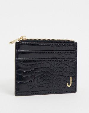 Черная визитница и кошелек с эффектом крокодиловой кожи инициалом J -Черный ASOS DESIGN