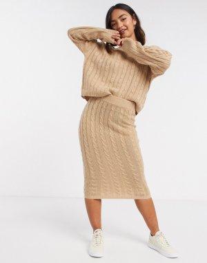 Трикотажный комплект бежевого цвета из джемпера и юбки миди в косичку -Бежевый Brave Soul