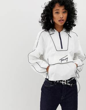 Ветровка через голову с логотипом -Белый Tommy Jeans