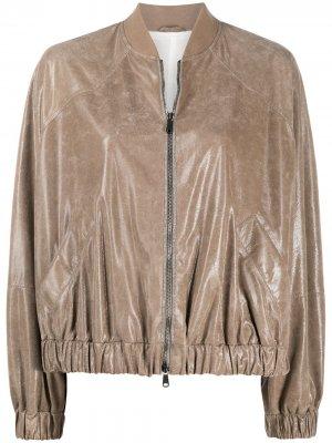 Куртка-бомбер на молнии со сборками Brunello Cucinelli. Цвет: серый