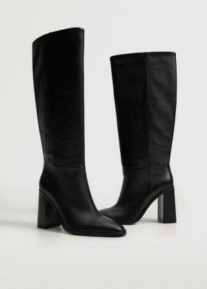Высокие кожаные сапоги на каблуке - Mer Mango. Цвет: черный