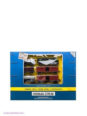 Набор Ж/д Голубая стрела,403 см,тепловоз,5 вагонов,свет, стрела. Цвет: черный, синий, зеленый, серый, коричневый
