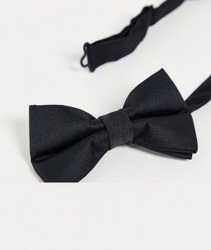 Черные атласные пояс и галстук-бабочка -Черный цвет ASOS DESIGN