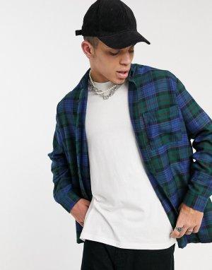 Oversize-рубашка в клетку -Зеленый цвет ASOS DESIGN