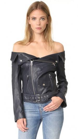 Кожаная куртка с открытыми плечами Faith Connexion. Цвет: темно-синий