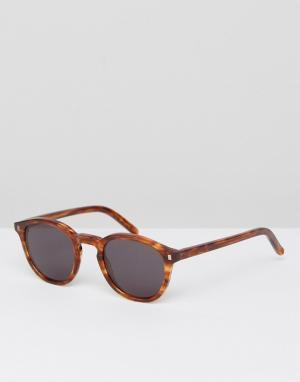 Солнцезащитные очки в круглой оправе янтарного цвета Monokel Eyewear. Цвет: коричневый