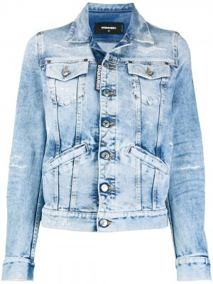 Укороченная джинсовая куртка с прорезями Dsquared2. Цвет: синий