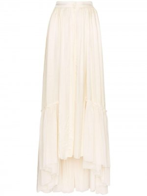 Атласная юбка макси свободного кроя Ann Demeulemeester. Цвет: нейтральные цвета