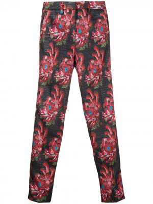 Укороченные брюки с цветочным принтом John Richmond. Цвет: черный