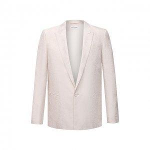 Пиджак из шерсти и шелка Saint Laurent. Цвет: белый