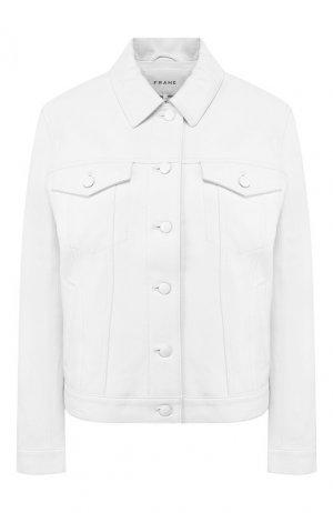 Кожаная куртка Frame Denim. Цвет: белый