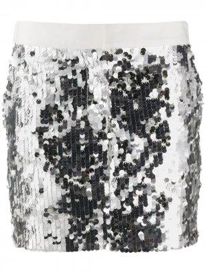 Короткая юбка с пайетками 8pm. Цвет: серебристый