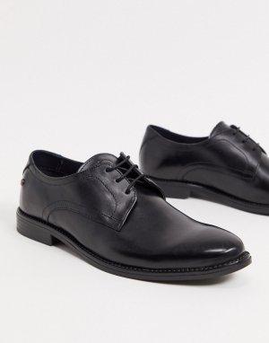 Черные кожаные туфли на шнуровке -Черный цвет Base London