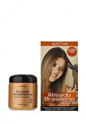 Набор для ухода за волосами Kativa KERATINA выпрямление и восстановление с маслом Арганы. Цвет: белый