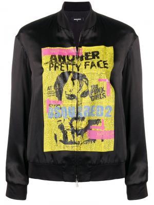 Куртка-бомбер с принтом в стиле панк Dsquared2