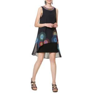 Платье струящееся средней длины с графическим рисунком Portia DESIGUAL. Цвет: черный наб. рисунок