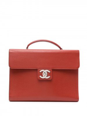 Портфель 1998-го года с логотипом CC Chanel Pre-Owned. Цвет: красный