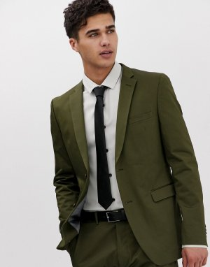 Приталенный пиджак цвета хаки -Зеленый Esprit
