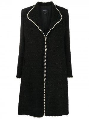 Пальто строгого кроя с искусственным жемчугом Giambattista Valli. Цвет: черный