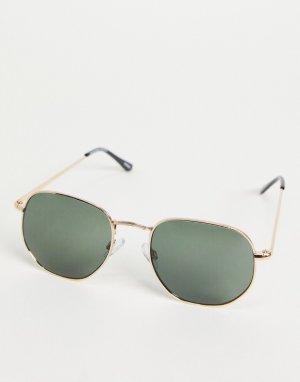 Фактурные солнцезащитные очки в золотистой оправе -Золотистый Selected Homme