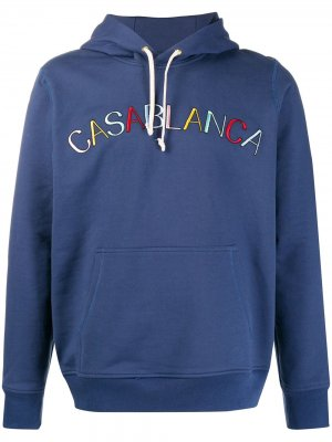 Худи с вышитым логотипом Casablanca. Цвет: синий