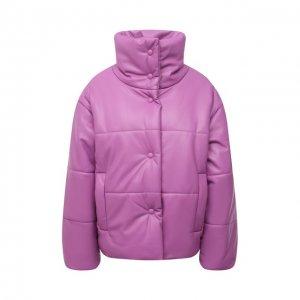 Утепленная куртка из экокожи Nanushka. Цвет: розовый