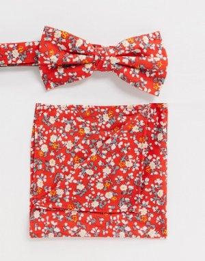 Галстук-бабочка и платок для пиджака -Красный Ben Sherman