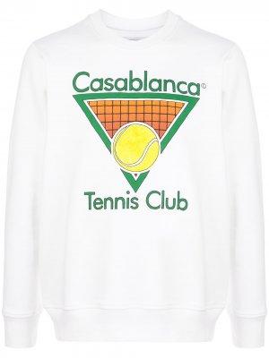 Толстовка Tennis Club с логотипом Casablanca. Цвет: белый