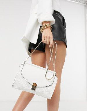 Кремовый клатч с плетенной фактурой и ремешком-цепочкой Penelope-Белый Fiorelli