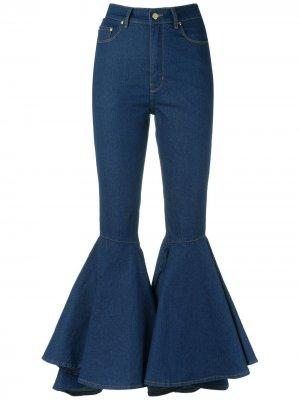 Расклешенные брюки из денима Amapô. Цвет: синий