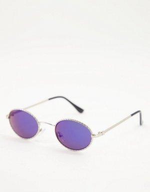 Круглые солнцезащитные очки синего цвета в стиле унисекс -Серебристый AJ Morgan