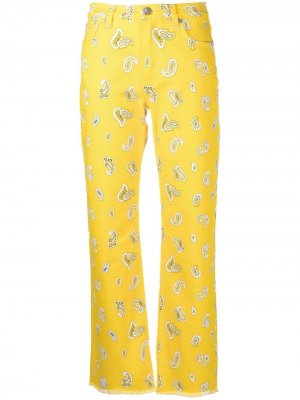 Расклешенные джинсы с принтом пейсли ETRO. Цвет: желтый