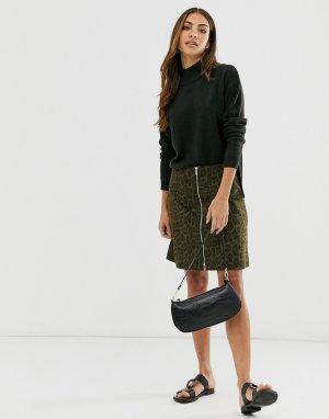 Мини-юбка с леопардовым принтом -Мульти b.Young