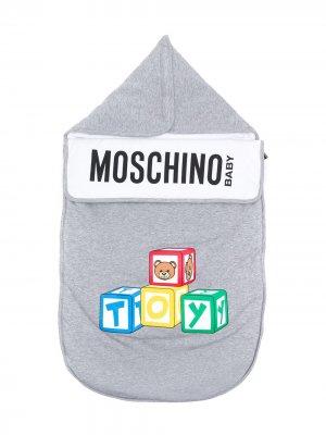 Спальный мешок с логотипом Toy и боковой молнией Moschino Kids. Цвет: серый