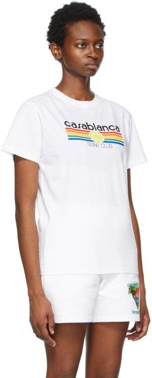 White Vintage Tennis Stripe T-Shirt Casablanca. Цвет: white