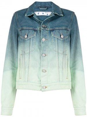 Джинсовая куртка с эффектом градиента Off-White. Цвет: синий