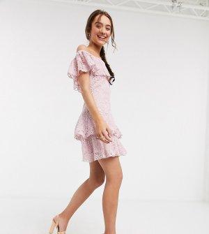 Розовое кружевное платье мини -Розовый цвет Little Mistress Petite