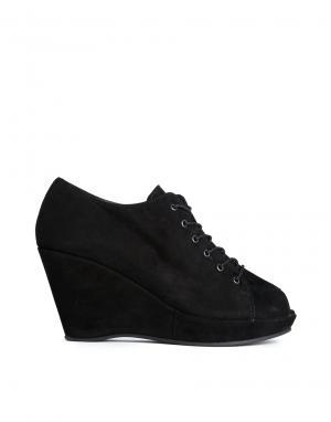 Suede Peeptoe Lace Up Wedge Shoes Gardenia. Цвет: suede black
