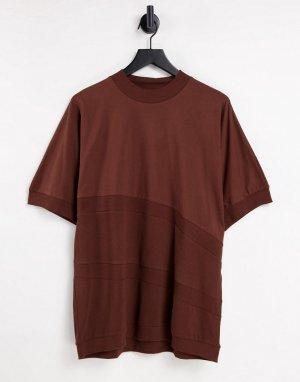 Коричневая oversized-футболка со вставками из вафельного трикотажа и в рубчик -Коричневый цвет ASOS DESIGN