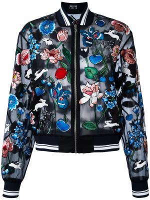 Куртка-бомбер с вышивкой Charlotte Markus Lupfer. Цвет: чёрный