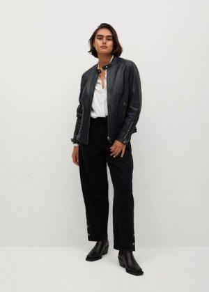 Кожаная байкерская куртка - Chelsea7 Mango. Цвет: темно-синий