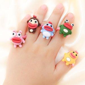 5шт Открытое кольцо с рисунком животных для девочек SHEIN. Цвет: многоцветный