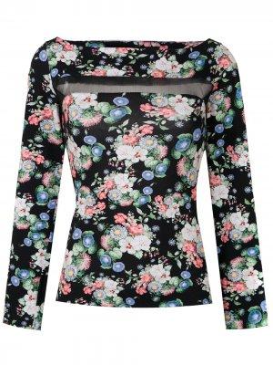 Блузка из тюля с цветочным декором Gloria Coelho. Цвет: черный